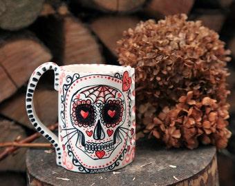 calavera mug, sugar skull, mexican skull, love cup, dias de los muertos Made to order