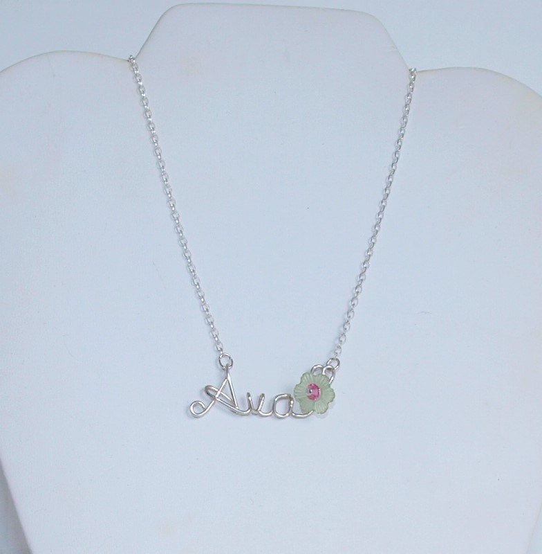 child name necklace flower necklace by