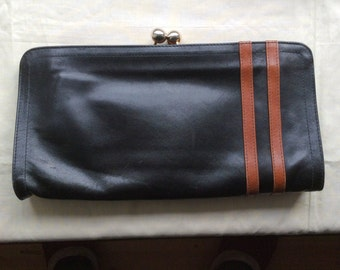 Vintage 80s large leather clutch bag, purse, Italian leather clutch bag, Black and Tan leather.