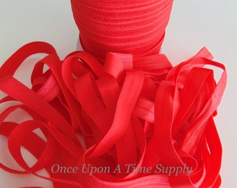 Cherry Red Fold Over Elastic for Baby Headbands - Up To 5 Yards of 5/8 inch FOE Craft Embellishment Solid Color Colour Elastic By The Yard