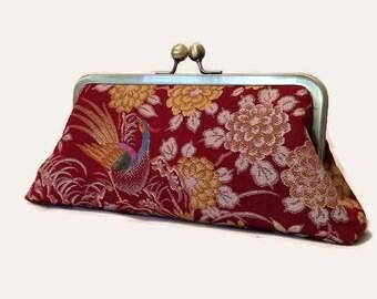 Japanese Silk Clutch, Woven Silk Clutch Purse, Silk Clutch Purse, Wine Red Clutch, Silk Evening Purse, Floral Clutch Bag, Silk Evening Bag