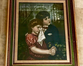 "Antique art McLoughlin Bros NY children in the woods chromolithograph framed ""Lost in the Woods"""