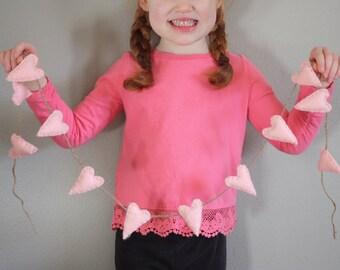 Little Pink Hearts Garland | Felt Garland - Handmade