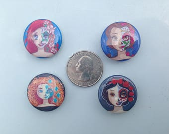 Disney Princess inspired sugar skull  needle minders