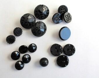 Assortment of 18 Vintage Black Glass Buttons