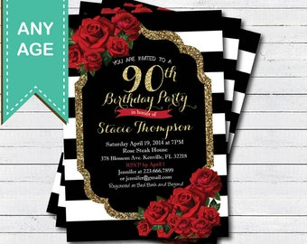 90th birthday invitation for lady. Red rose black and gold glam Valentine woman birthday invite. Any age. Printable digital file. AB146
