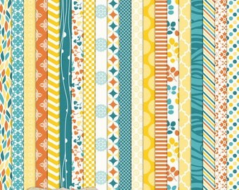 "Digital Printable Scrapbook Craft Paper - Caribbean Cocktail - Summer Bright Blue Yellow Orange Geometric - 12 x 12"" - PU/CU Commercial Use"