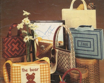 Needlepoint Totes, plastic canvas, bear, school bag, book bag, butterfly