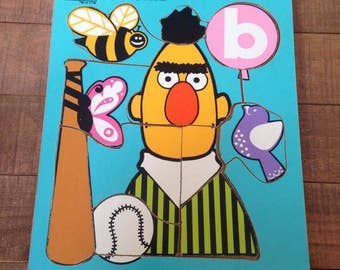 Vintage Sesame Street Puzzle, B for Bert, 1973, Playskool Puzzle, Bert Puzzle, Vintage Bert, Alphabet Puzzle