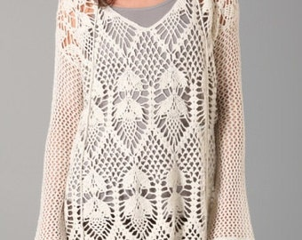 long sleeve crochet tunic with hood, autumn  dress,gift ideas,shirt beach, cozy clothing,cotton,