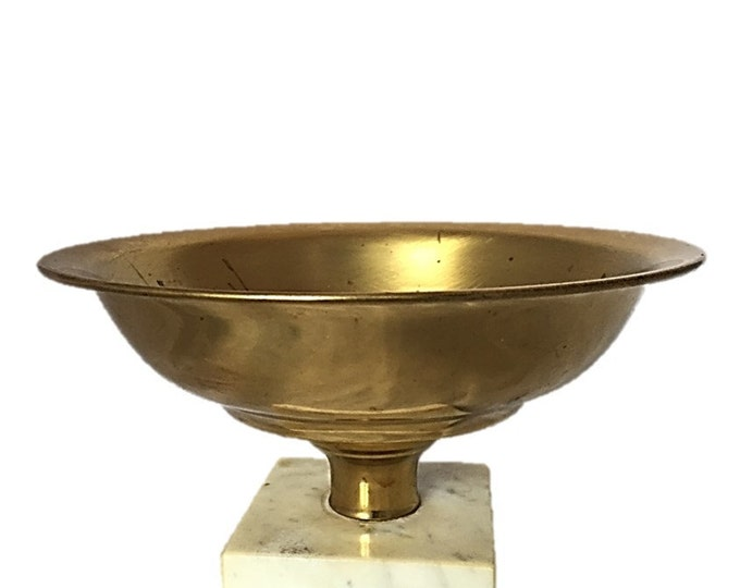 Brass Pedestal Compote Bowl with Marble Base | Lovely Aged Patina | Seasonal Accent | Fruit Bowl or Center Piece | Vintage Home Decor Mom