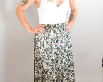 80s Secretary Skirt// Satiny Long Skirt// Pleated 80s Skirt