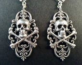 Silver Skull Earrings - Game of thrones Jewelry - Pirate Earrings - Renaissance Earrings - Dawn Santucci - Metal di Muse - Goth Jewelry