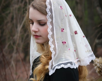 Evintage Veils~ St Therese Ivory Floral Embroidered  Lace Mantilla Chapel Veil Classic D Shape