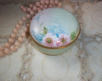 Antique Germany Trinket Box Hand~Painted Porcelain Pink Roses Blue Forget Me Nots Gold Gilt Trim Vanity Trinket Box Excellent Condition