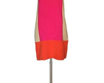 Vintage 1990s Color Block Mini Dress Mod 60s Style Mary Quant Mini Go-Go Mini Dress