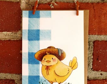 Illustrated Chick Greeting Card stationery notecard blank