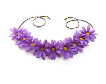 Purple daisy flower crown, hippie flower halo headband, Coachella flower crown, boho hair accessory with big daisies