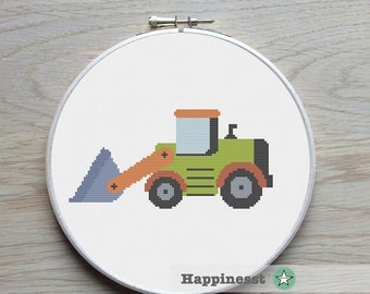 cross stitch pattern bulldozer, construction vehicle, kids room, easy cross stitch, PDF,  ** instant download**
