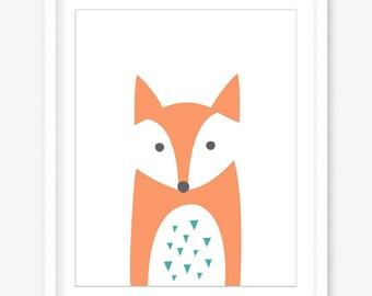 Printable nursery art - fox print - printable kids art - nursery printable animals - nursery poster woodland animal print - INSTANT DOWNLOAD