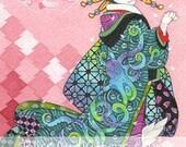 Courtesan Maneki Neko  5x7 open edition print - Japanese cat Kimono art Ukiyoe Octopus