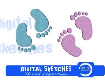 Baby Feet Machine Embroidery Design 4 Sizes