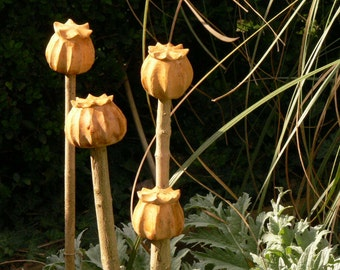 4 x Oversized Wooden Poppy Seed Heads - Cane Toppers -  Garden Yard Art - Hand Carved In Beech - Ideal Garden Gift / Treat