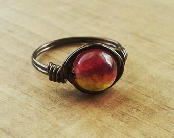 Magenta and Yellow Paz Happy Wire Ring, Pink and Marigold Hippie Ring, Dark Brown Nontarnish Copper Wire Ring