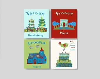 515, Oh,the places you'll go, Dr Seuss,travel nursery, playroom decor, nursery, baby art,red,green,blue,Tawain,France,Croatia