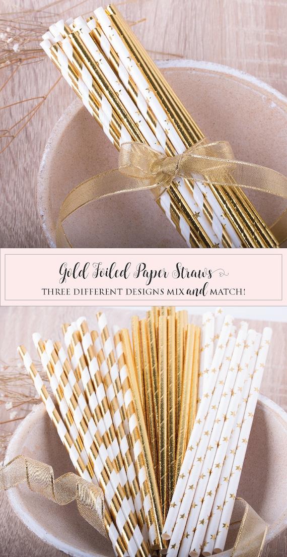 Paper Straw Gold Foil Party Straws Party Decor Wedding Decor Bachelorette Decor