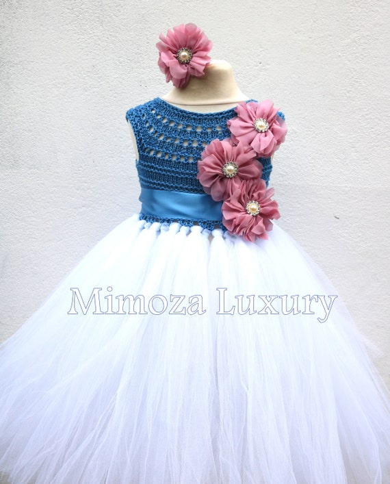 SALE size 12-18m, 18-24m Ready to ship, Blue Flower girl dress tutu dress,  bridesmaid dress, green princess dress, crochet top tulle