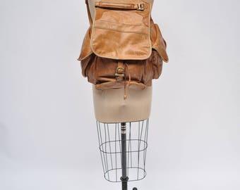 vintage leather backpack leather back pack ruck sack rucksack bag distressed