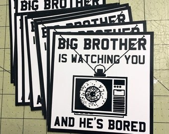 Vinyl Sticker - (large) Big Brother Is Watching You And He's Bored