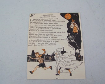 Vintage children's book Halloween illustration poem costume ghost witch pumpkin JOL skeleton Through the Gate