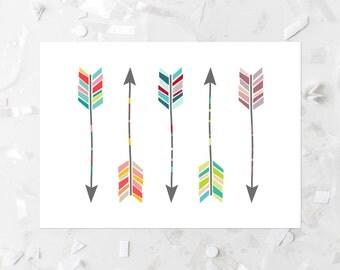 Arrow Printable Colorful Arrows Arrow Wall Decor Native Decor Arrow Wall Art Southwest Arrow Prints Tribal Arrow Print Tribal Nursery Art