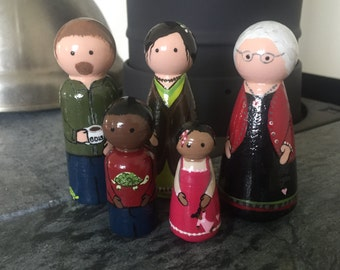 CUSTOM Multi-Racial Wooden Doll Family