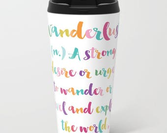 Wanderlust Metal Travel Mug - Yellow Stainless Steel Travel Mug With Lid - Gift For Women - Aldari Home