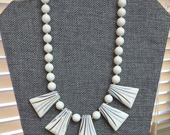Vintage MIDCENTURY White Striped Dangle Necklace with White Beads Signed Japan