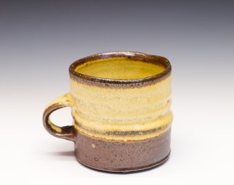 Salt Fired High-Iron Stoneware Mug - Yellow Glaze, 0425010