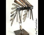 Native American Indian Chief Headdress Welded metal art sculpture