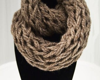 Beige Arm Knit Infinity Scarf