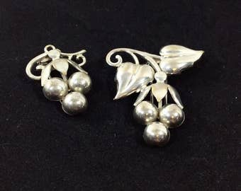 Vintage Set of Two Silver Grape Cluster Brooches