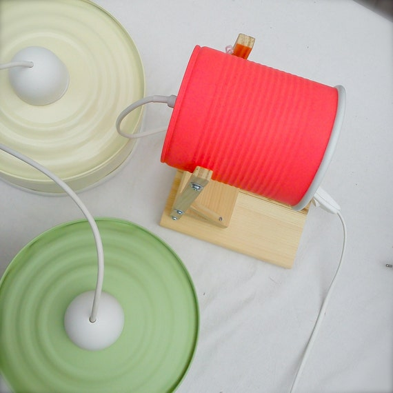 Desk lamp - nightstand lamp, mat phosphorescent red color ....  eco friendly: recycled from tomato can ! UK or EURO or US or Australia plug