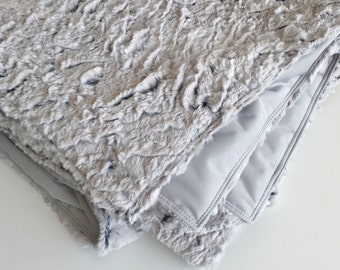 Large Furry Adult Minky Throw Blanket in Platinum Silver