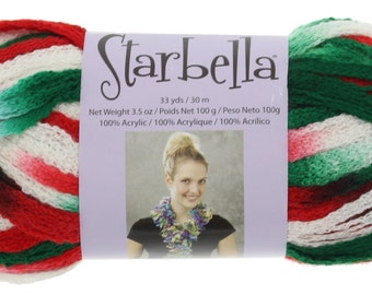 """Starbella Yarn, 1 Skein, Color 15-25, """"Christmas"""", Red, White, Green, Premier Yarns, 100% Acrylic"""