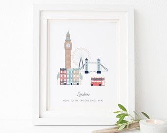 Personalised London City Print - Personalised London Print - London Print - Personalized City - City Prints - Housewarming Gift - London