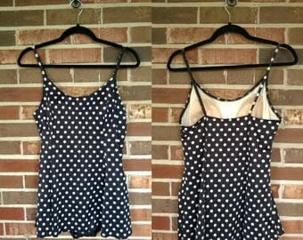 1980s Black White Polka Dot One Piece Skirted Bathing Suit, 12/14