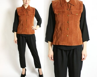 Vintage 80's 90's Suede Camel Brown Button Up Vest, Leather Sleeveless Collared Jacket Waistcoat