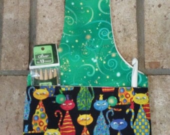 Wristlet Knitting bag/ Socks knitting bag/  Project Bag with or without button up pockets /  Wristlet Pouch bag/ Crochet Bag