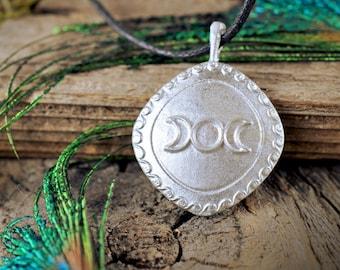 Triple Moon Medallion ~ Lead-Free Pewter Pendant ~ Satin Finish ~ Goddess Pagan Wiccan Lunar Priestess